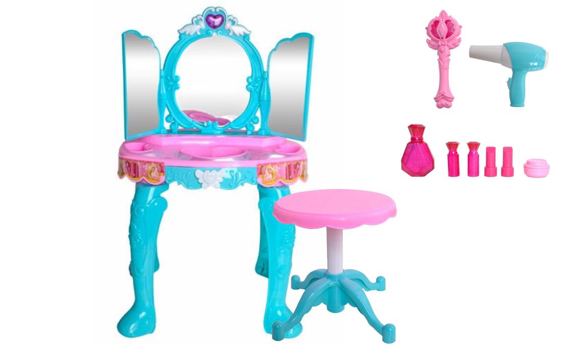 Detský kozmetický stolík toaletka so stoličkou MAGIC WAND-MP3 JACK