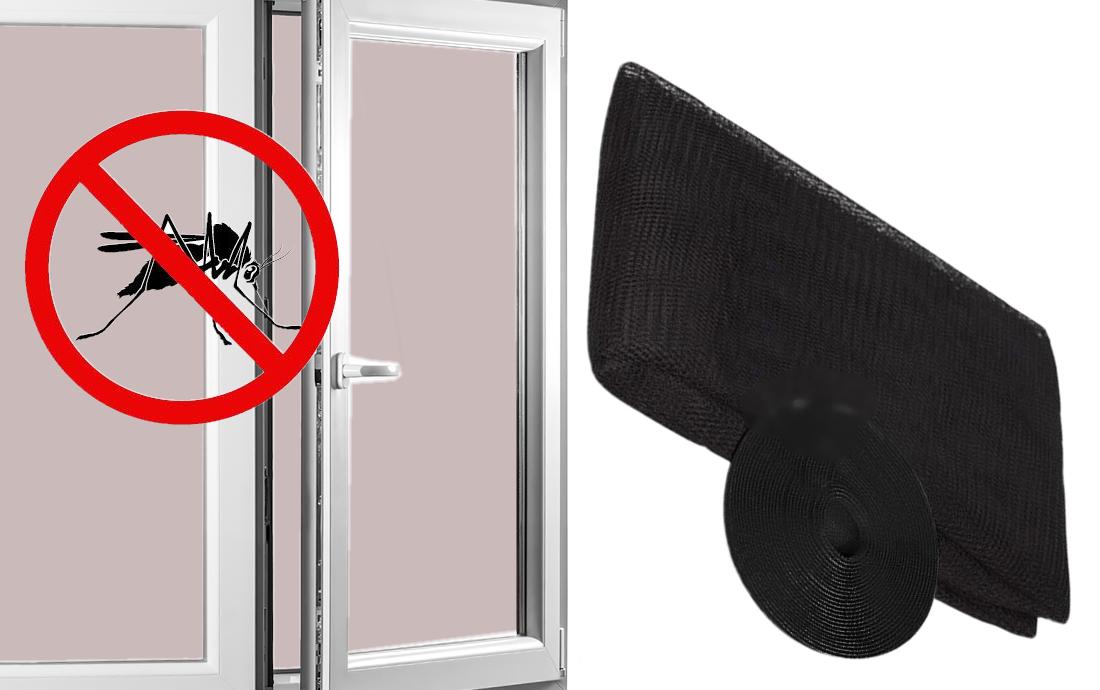 Sieťka na okno proti hmyzu s montážnou páskou , čierna