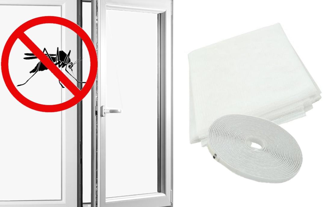 Sieťka na okno proti hmyzu s montážnou páskou , biela